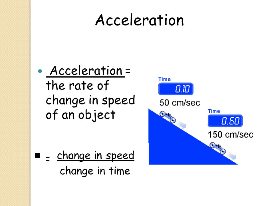 Acceleration Acceleration = the rate of change in speed of an object