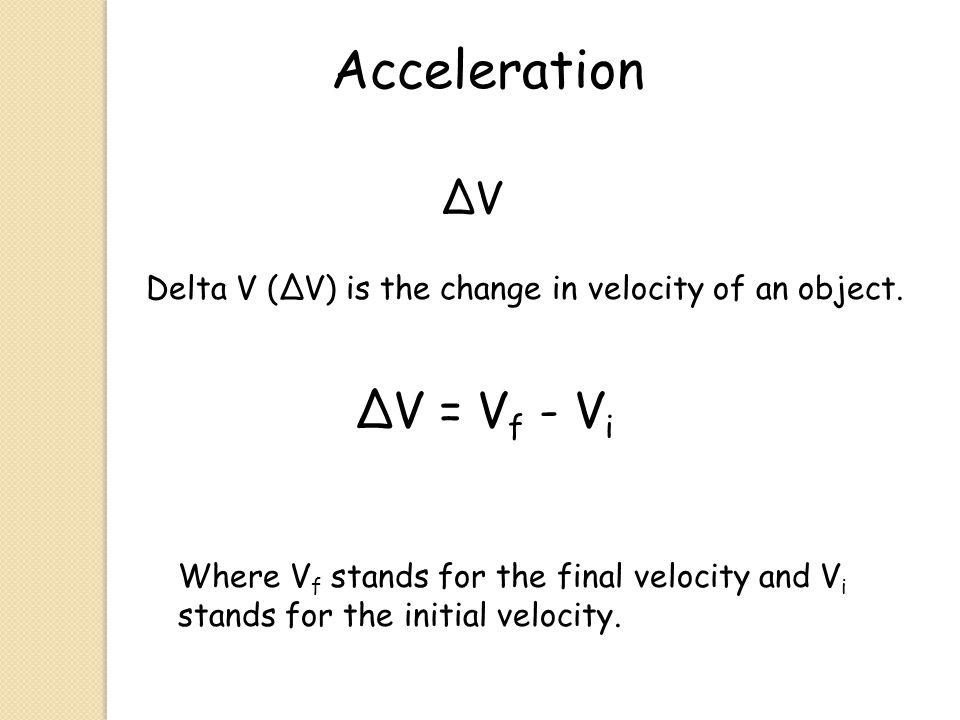 Acceleration ∆V = Vf - Vi ∆V