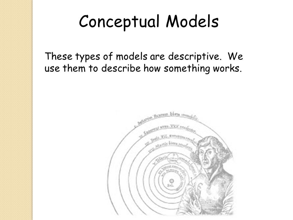 Conceptual Models These types of models are descriptive.