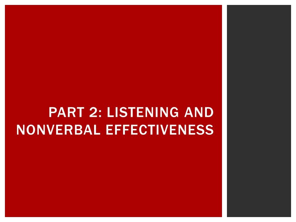 Part 2: Listening and Nonverbal Effectiveness