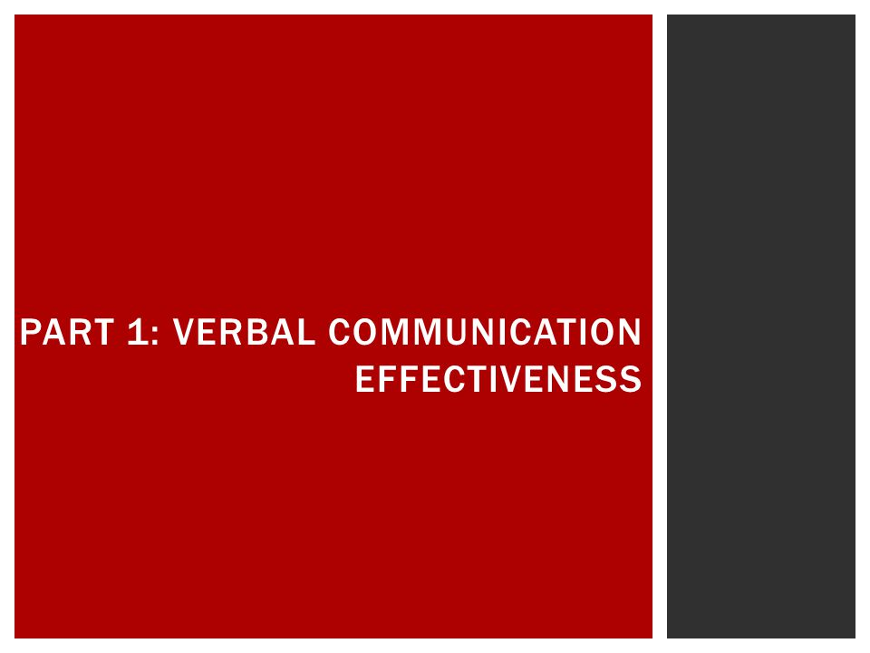 Part 1: Verbal Communication Effectiveness