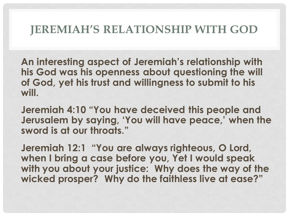 Jeremiah's relationship with God