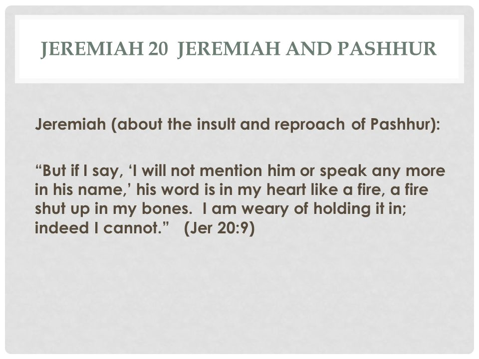 Jeremiah 20 Jeremiah and Pashhur