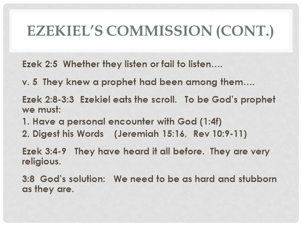 Ezekiel's Commission (cont.)