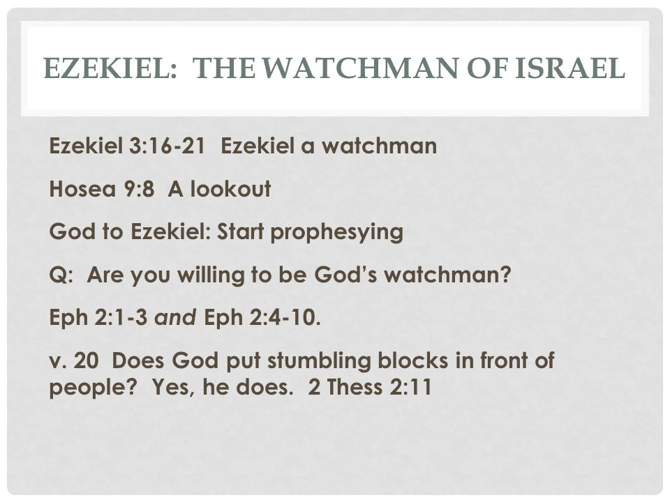 Ezekiel: The Watchman of Israel