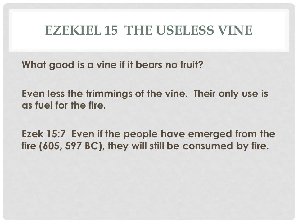 Ezekiel 15 The useless vine