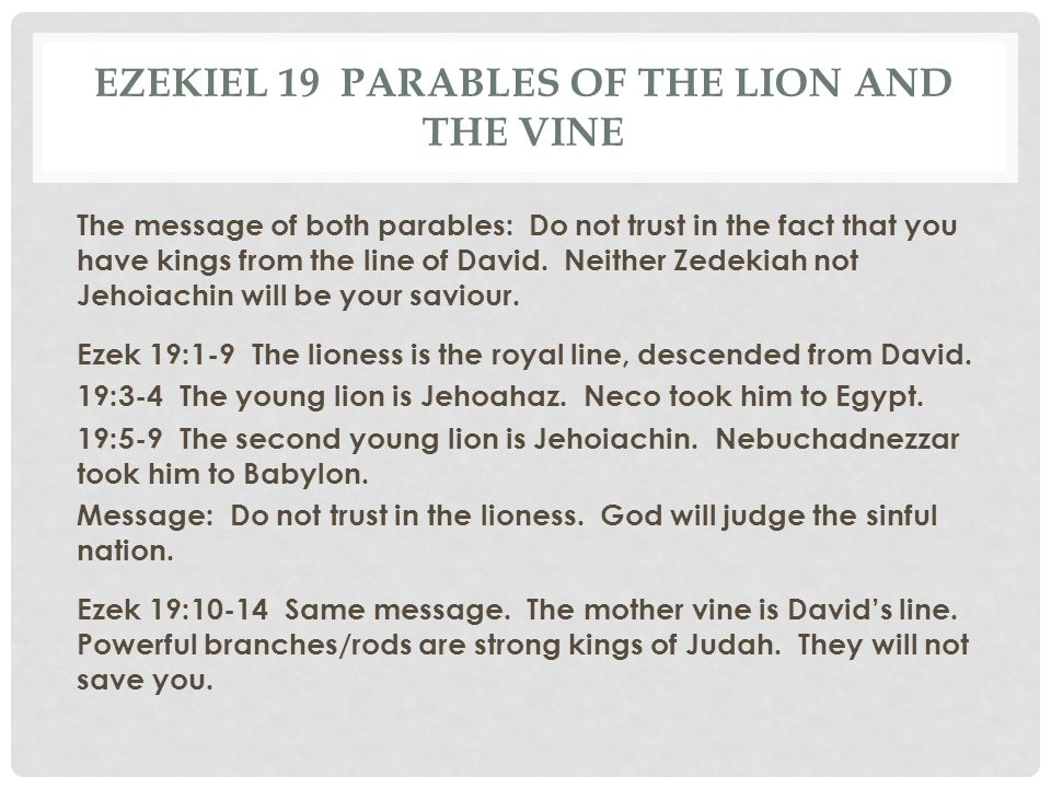 Ezekiel 19 Parables of the lion and the vine