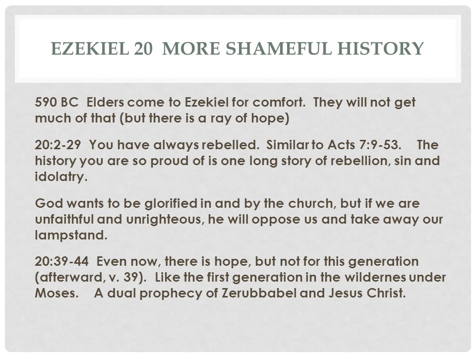 Ezekiel 20 More shameful history