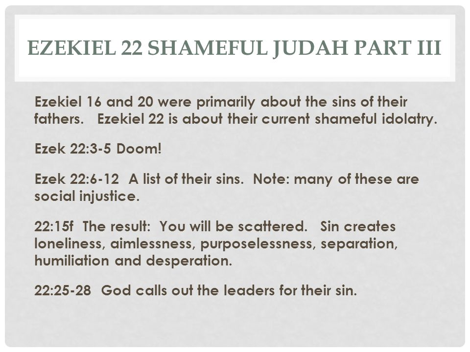 Ezekiel 22 Shameful Judah part III