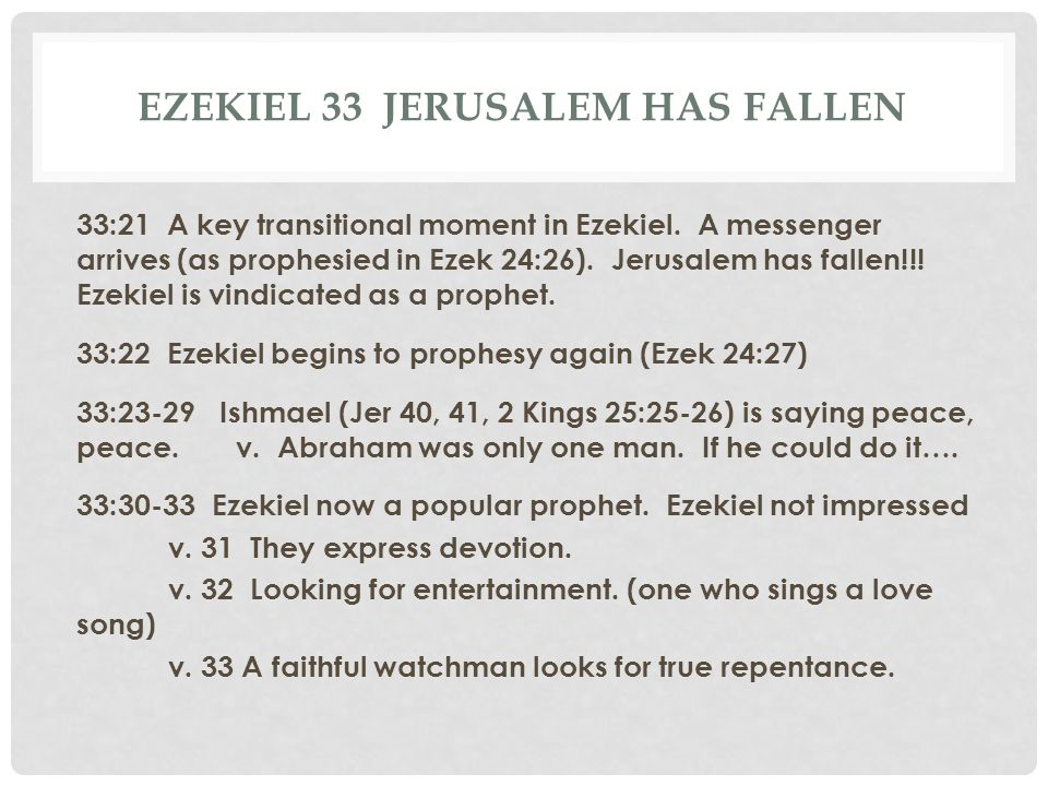 Ezekiel 33 Jerusalem has fallen
