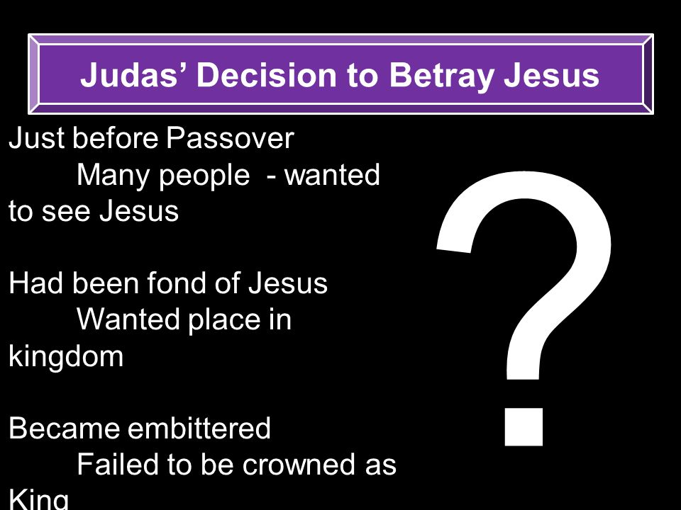 Judas' Decision to Betray Jesus
