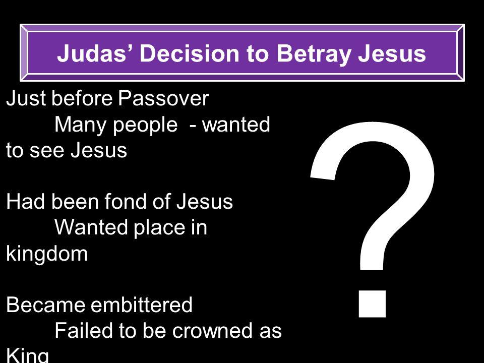 Judas' Decision to Betray Jesus