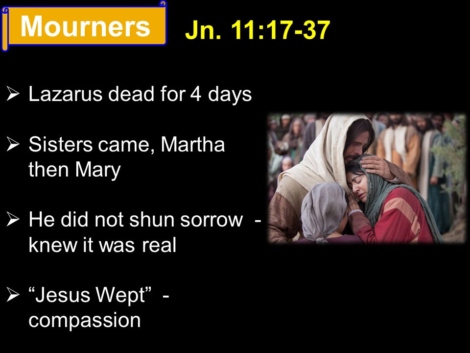 Mourners Jn. 11:17-37 Lazarus dead for 4 days