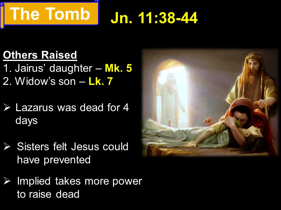 The Tomb Jn. 11:38-44 Others Raised 1. Jairus' daughter – Mk. 5