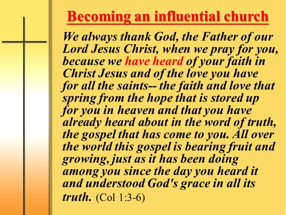 Becoming an influential church