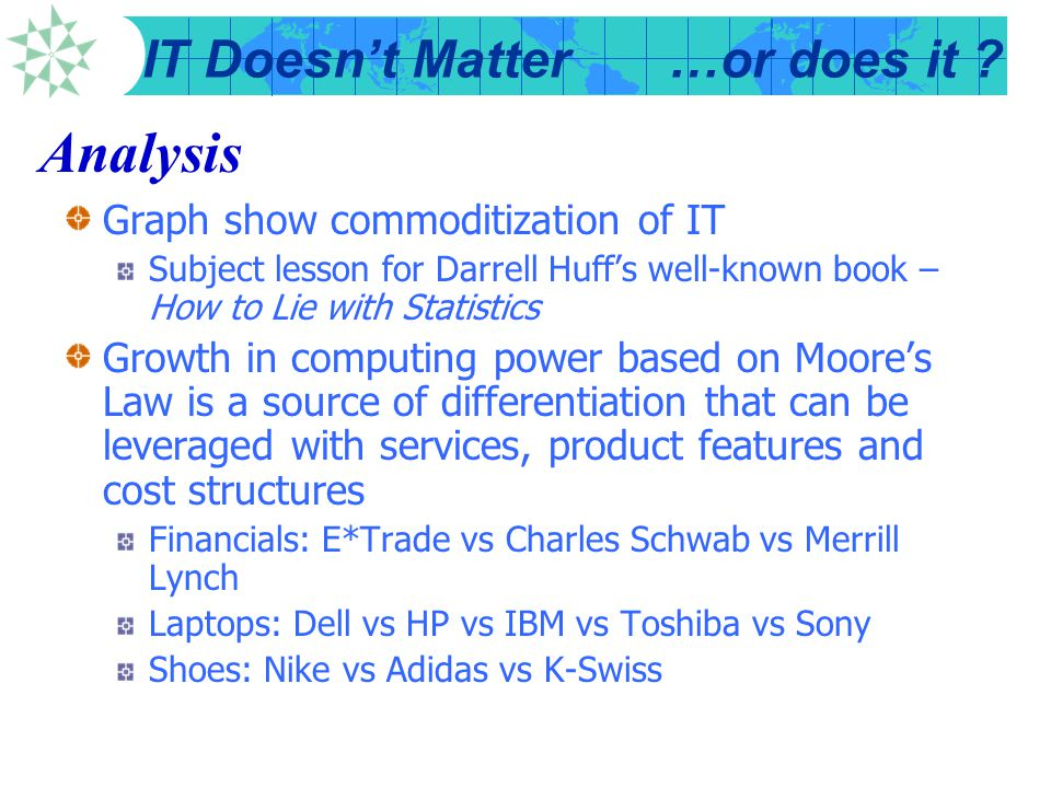 Analysis Graph show commoditization of IT