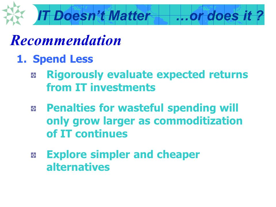 Recommendation 1. Spend Less