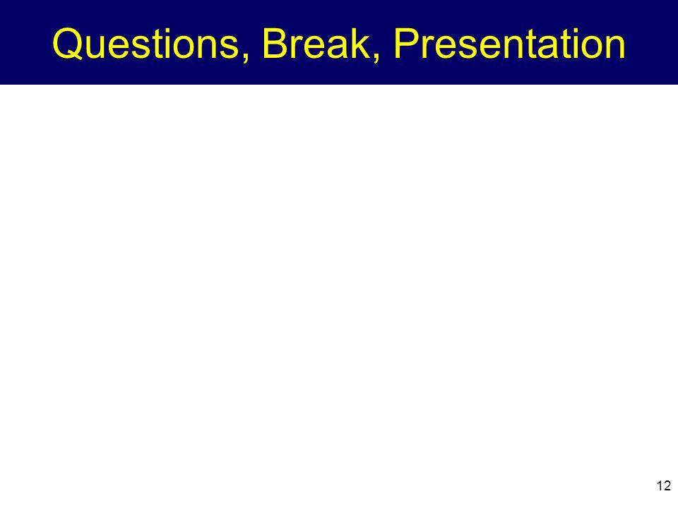 Questions, Break, Presentation