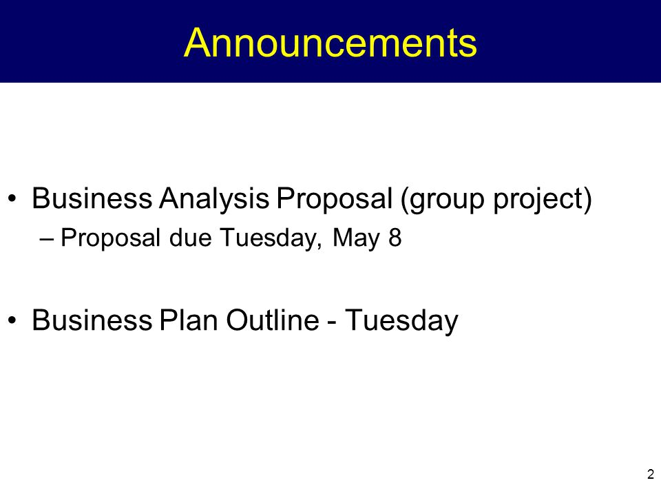 Announcements Business Analysis Proposal (group project)