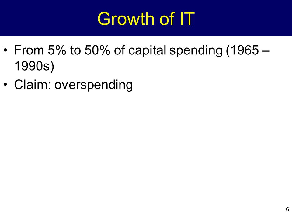 Growth of IT From 5% to 50% of capital spending (1965 – 1990s)