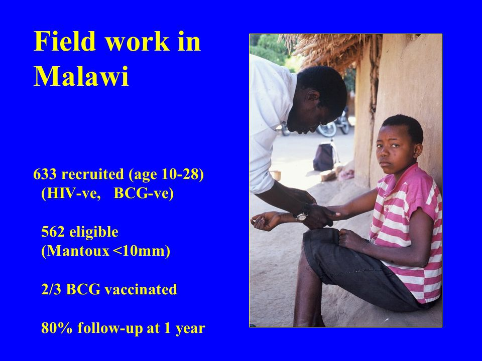 Field work in Malawi 633 recruited (age 10-28) (HIV-ve, BCG-ve) 562 eligible (Mantoux <10mm) 2/3 BCG vaccinated 80% follow-up at 1 year