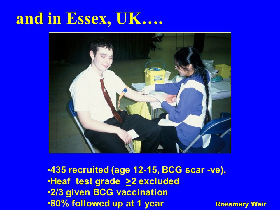 and in Essex, UK…. 435 recruited (age 12-15, BCG scar -ve),