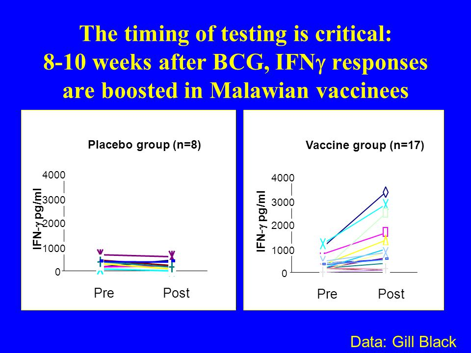 The timing of testing is critical: 8-10 weeks after BCG, IFNg responses are boosted in Malawian vaccinees
