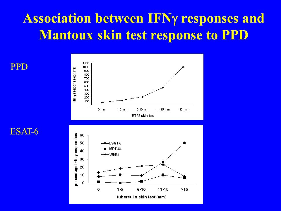 Association between IFNg responses and Mantoux skin test response to PPD