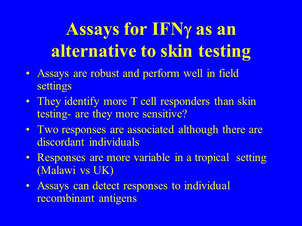 Assays for IFNg as an alternative to skin testing