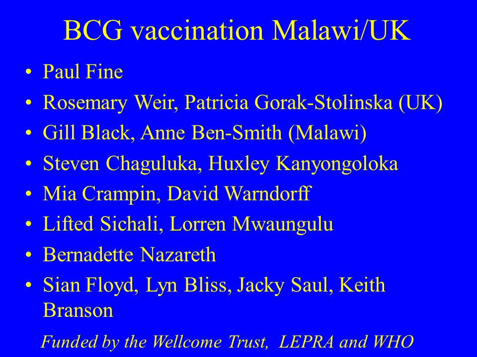 BCG vaccination Malawi/UK