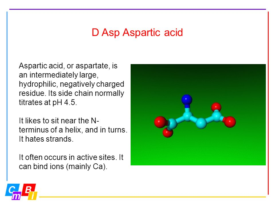 D Asp Aspartic acid Aspartic acid, or aspartate, is