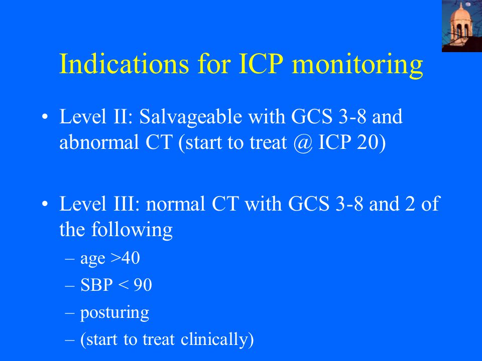 Indications for ICP monitoring