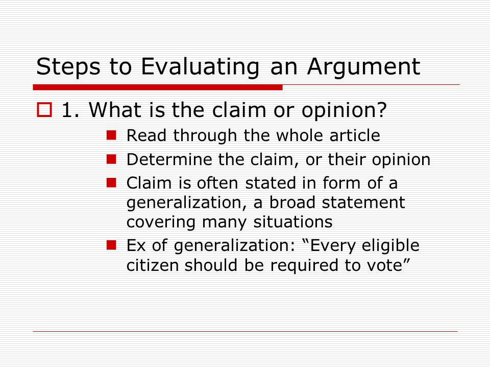 Steps to Evaluating an Argument