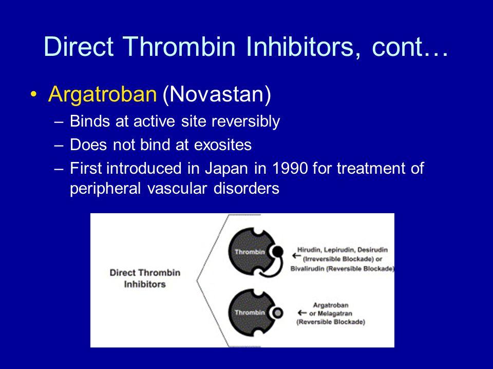 Direct Thrombin Inhibitors, cont…