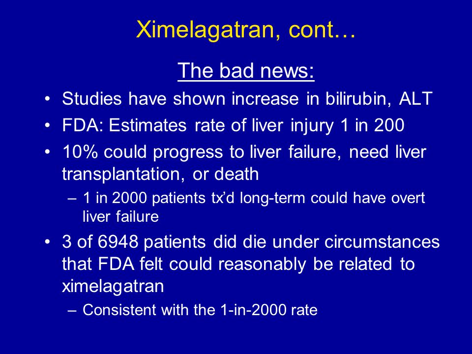 Ximelagatran, cont… The bad news: