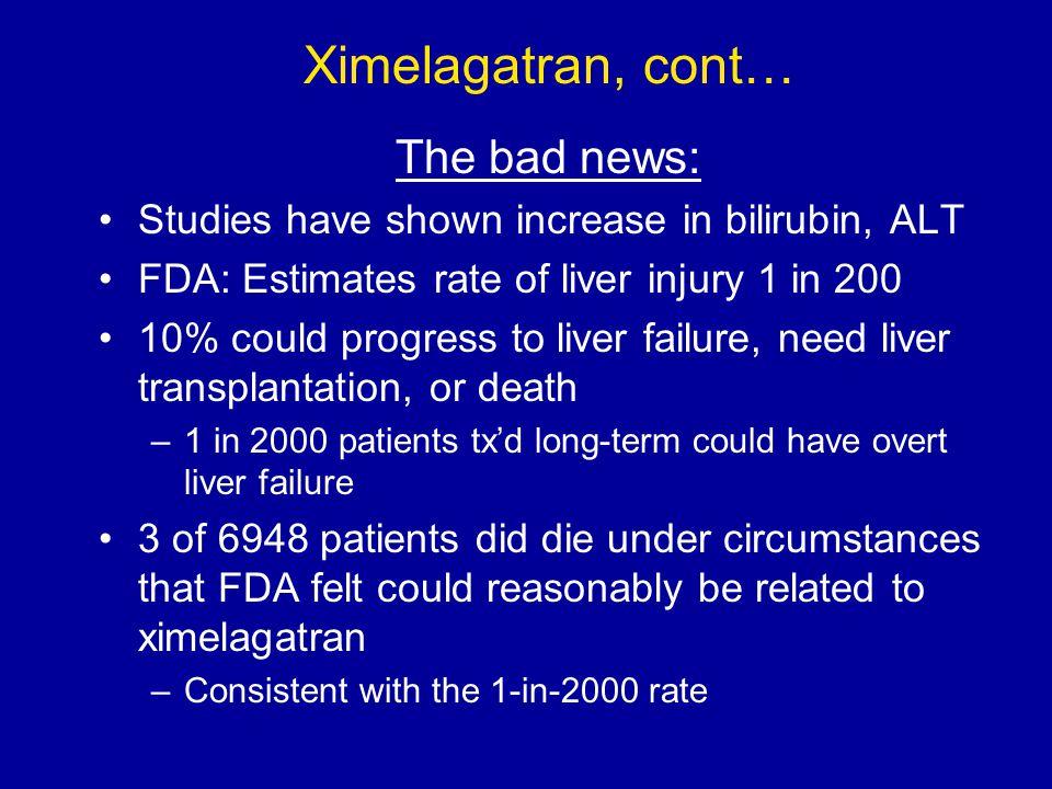Ximelagatran, cont… The bad news: