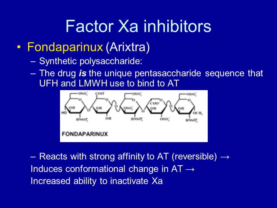 Factor Xa inhibitors Fondaparinux (Arixtra) Synthetic polysaccharide: