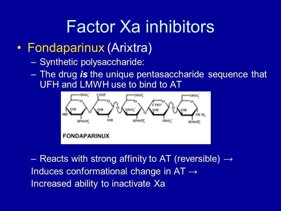 Factor Xa inhibitors Fondaparinux (Arixtra) Synthetic polysaccharide: