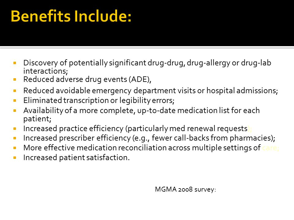 Benefits Include: Discovery of potentially significant drug-drug, drug-allergy or drug-lab interactions;
