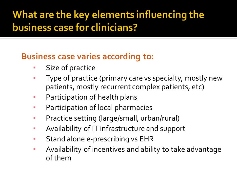 What are the key elements influencing the business case for clinicians
