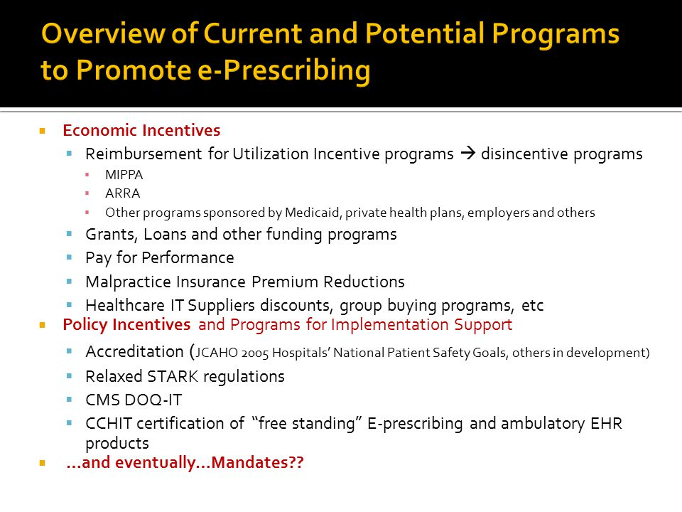 Overview of Current and Potential Programs to Promote e-Prescribing