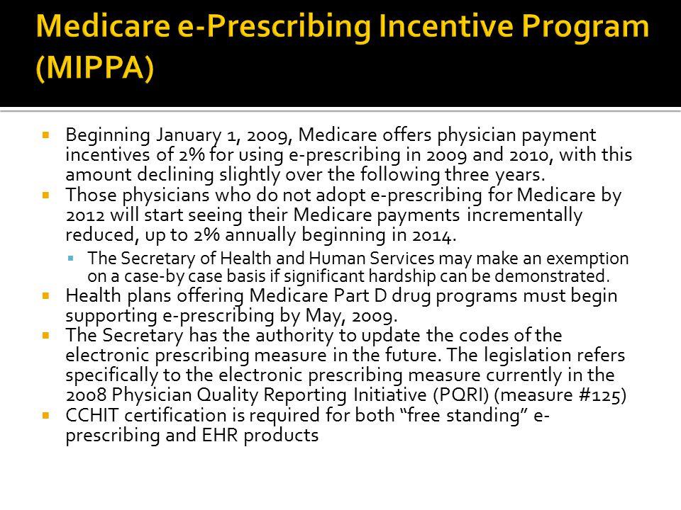 Medicare e-Prescribing Incentive Program (MIPPA)