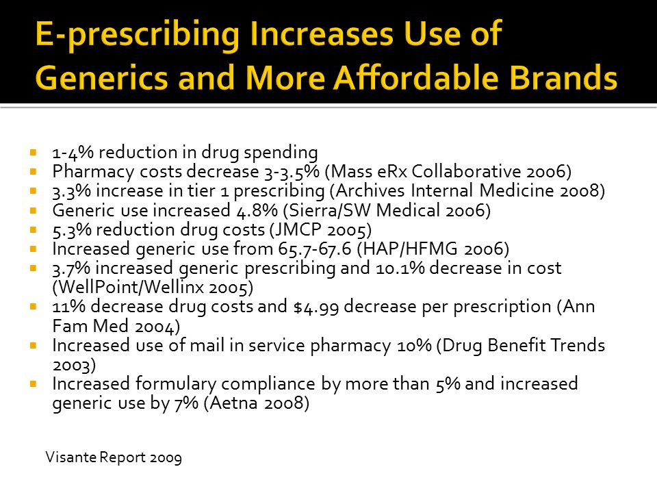 E-prescribing Increases Use of Generics and More Affordable Brands
