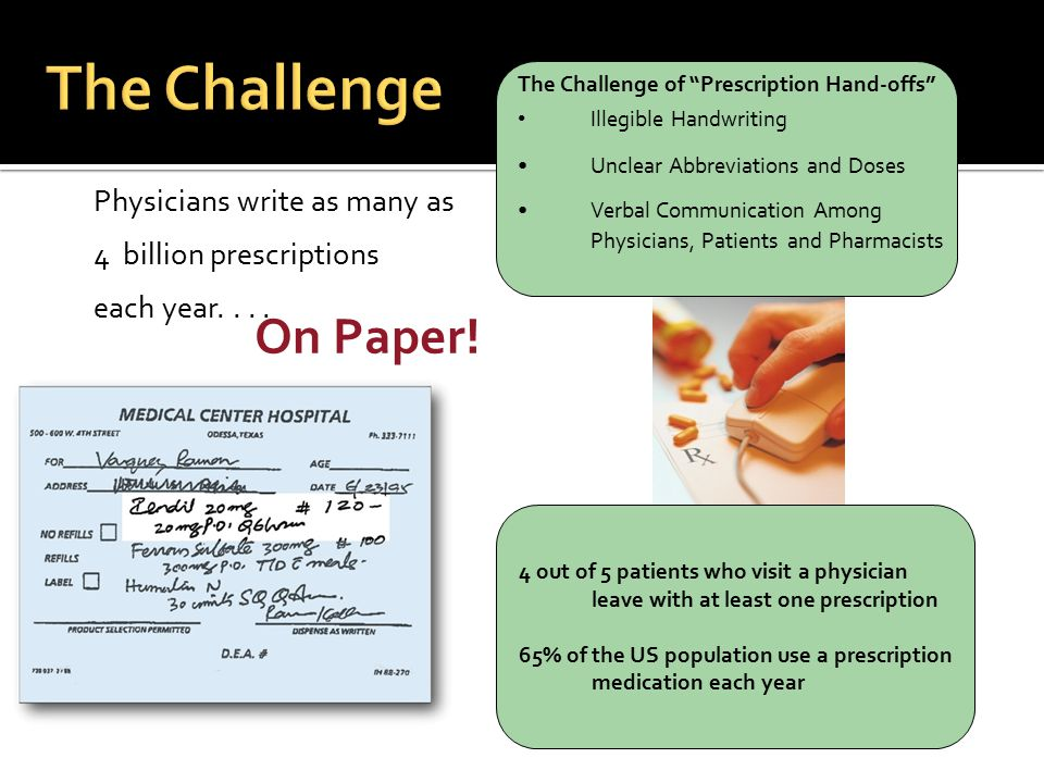 The Challenge On Paper! Physicians write as many as