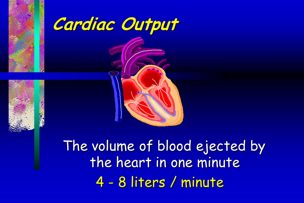 Cardiac Output The volume of blood ejected by the heart in one minute