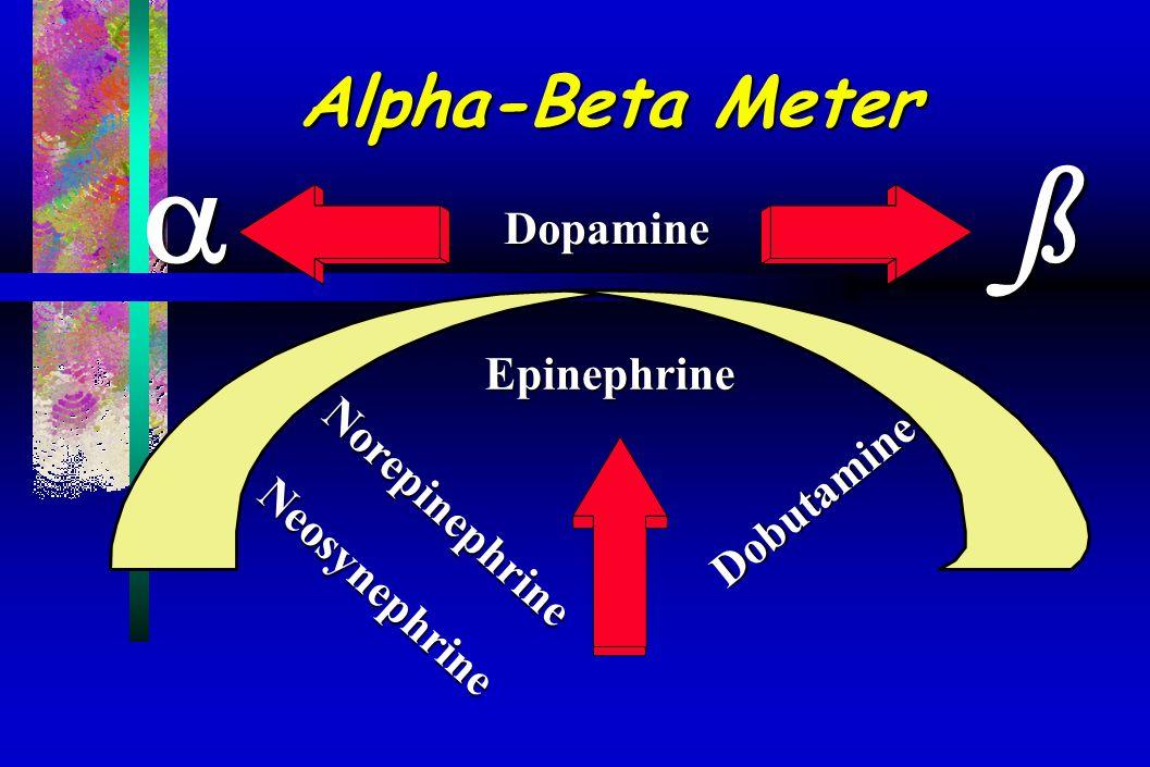  ß Alpha-Beta Meter Dopamine Epinephrine Norepinephrine Dobutamine