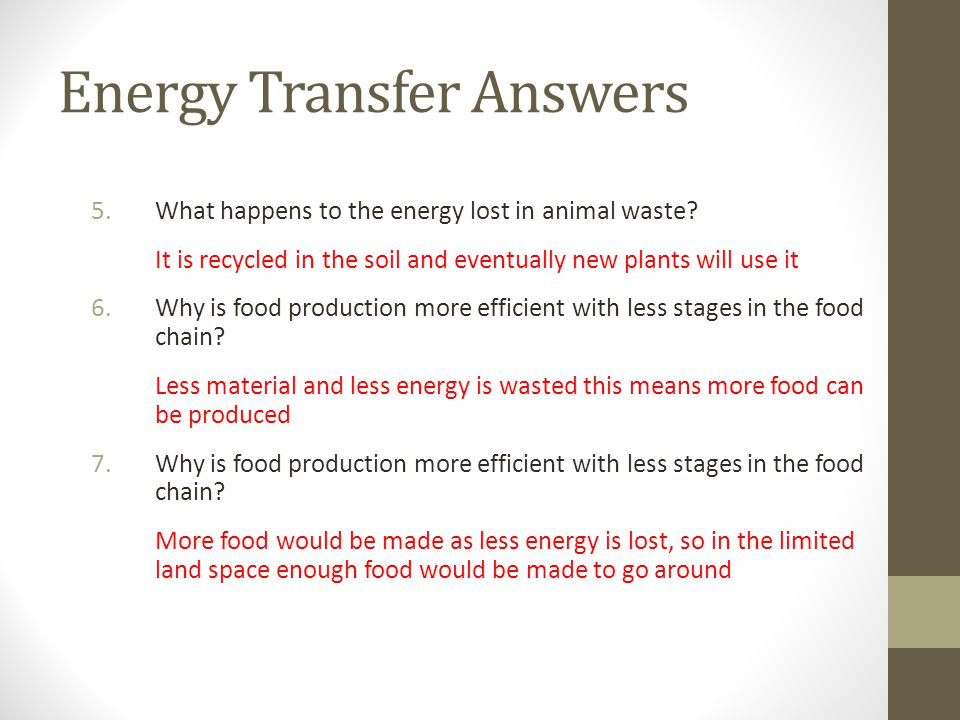 Energy Transfer Answers