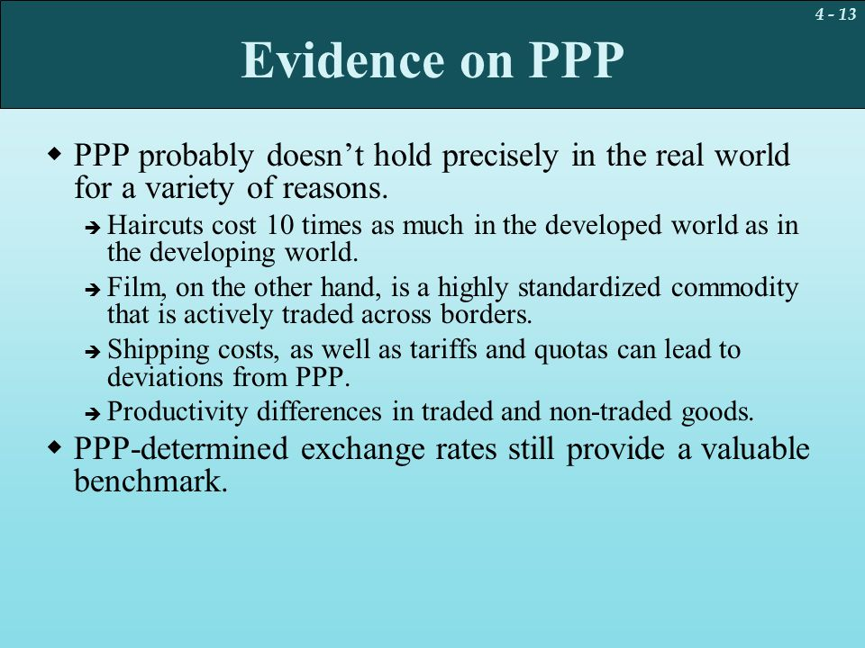 Evidence on PPP PPP probably doesn't hold precisely in the real world for a variety of reasons.