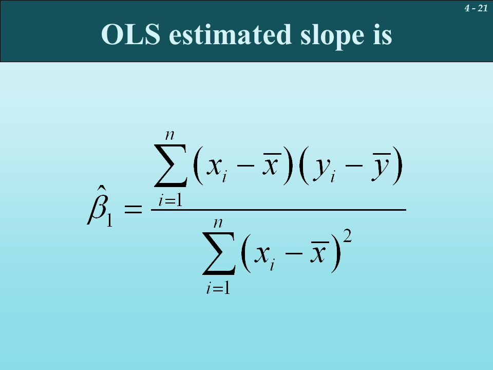 OLS estimated slope is