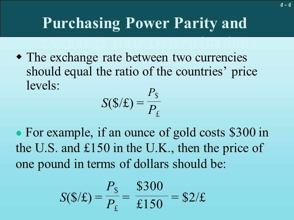 Purchasing Power Parity and Exchange Rate Determination